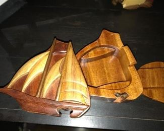 Hand crafted wood puzzle trinket box