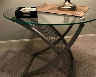 Industrial Coffee table and pair of end tables set with  mesh shelf and glass tops