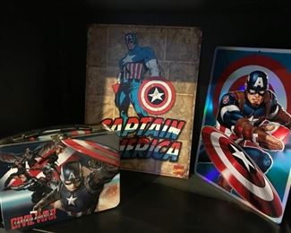 Captain America lunch box and metal wall art