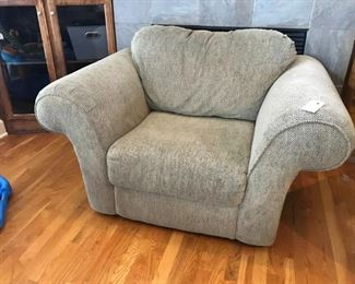 Light taupe chair and loveseat