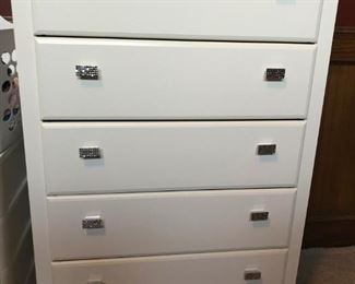 """White 5-drawer chest with """"bling"""" drawer pulls"""