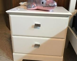 """White 5-drawer chest with """"bling"""" drawer pulls and pair of night tables"""