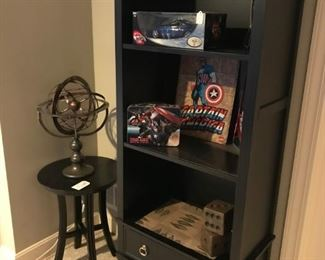 Black solid wood Book shelf with bottom drawers (with matching End Table)