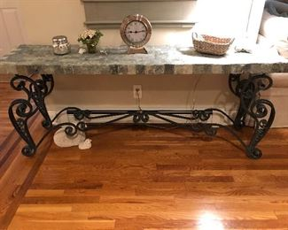Large Concrete and Metal Entryway Table