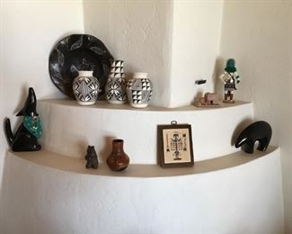 Native American pottery and other items