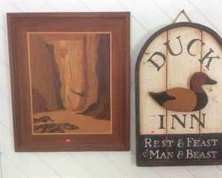 Wood  reproduction signs and carvings