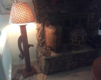 Wood floor lamp.
