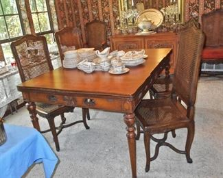 Beautiful Draw-Leaf DR Table with Cane Back Chairs