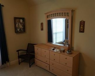 Large Dresser with Mirror. Small Bedroom Chair.