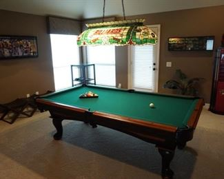 Game room Pool Table. Stained Glass Light Fixture.