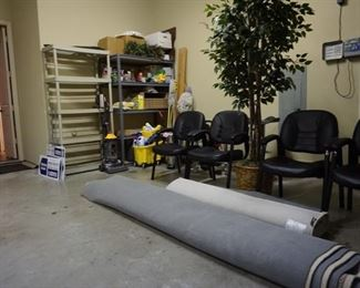 Large Rug with Office Chairs. Metal Frame Shelves. Tree.