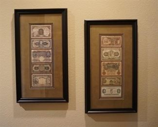 Framed Foreign Currency.