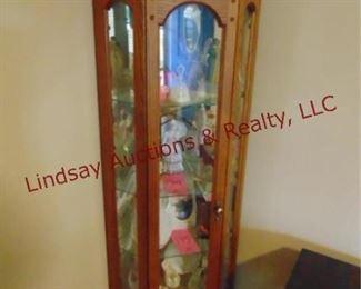 196 Oak 3 sided lighted corner display curio cabinet