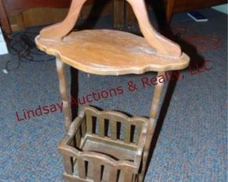 367 Wood hand built side table