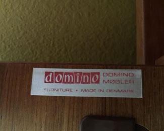 Label inside Domino Mobler furniture.