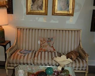 Gold French settee and mirrored coffee table