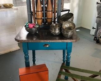 Teal table was $600. Now $150 Vintage croquet set.  Chic chic chic