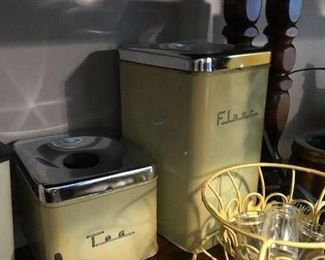 Vintage canister set yellow