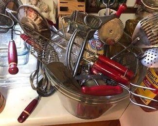 HUGE collection of vintage wooden handled kitchen utensils