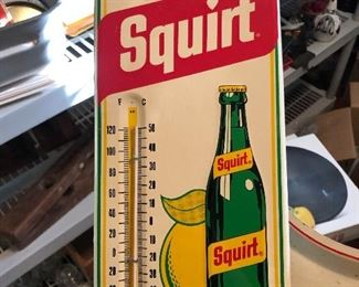 Metal Squirt Soda thermometer sign