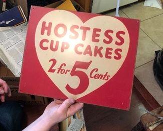 Metal Hostess cupcake sign