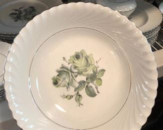 Gorgeous unique set of Bavarian/Germany China with green roses...very hard to find