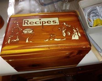 Lovely thick Cedar recipe box vintage South Carolina advertising