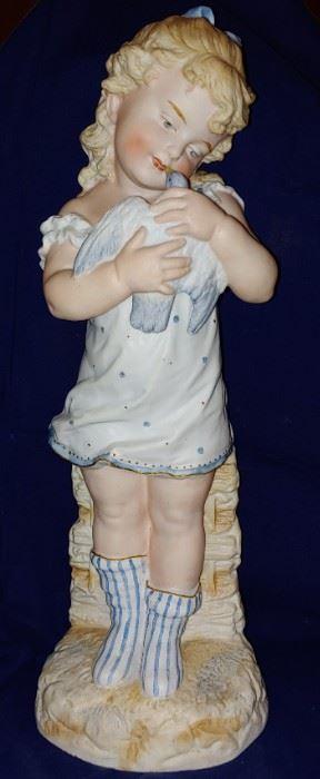 Beautiful bisque German figurines pair unfortunately the boy is damaged