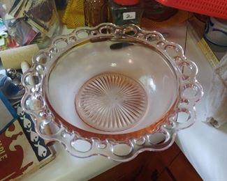 Pink depression waffle Edge Bowl