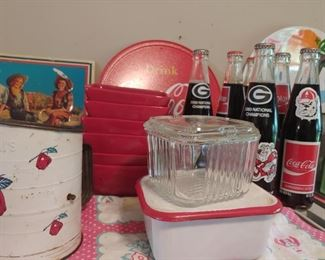 Clear and metal refrigerator dishes