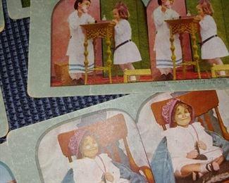 Antique photo viewer cards of children