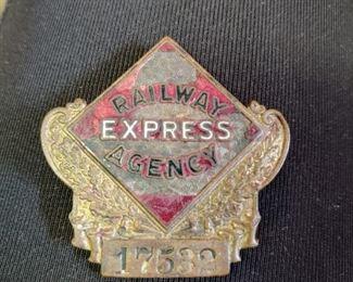 Railway Express agency badge Railroad