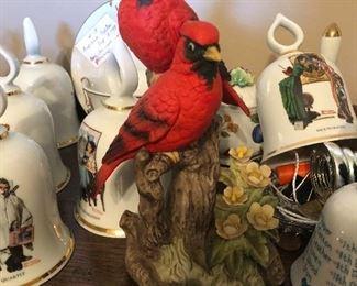 Lenox red birds in Hummel Bells
