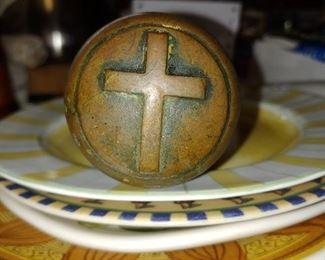 Gorgeous early brass cross door knob