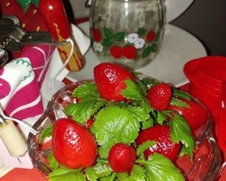 strawberry dishes and other items