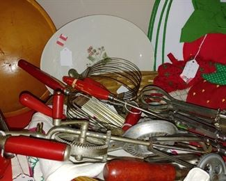 Each collection of very old kitchen red wooden handles