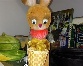 Hilarious late 1960s flocked bunny bank