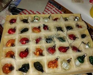 Miniature German Christmas ornaments in box