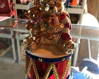 Christopher Radko Christmas Teddy Bear Candy Dish Box Glass 2004