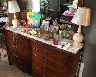 Mahogany dresser and mirror