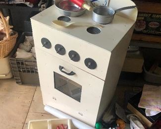 Love this homemade child's wooden stove