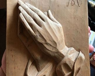 Beautiful wooden carving praying hands
