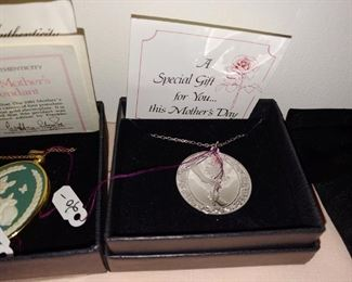 Sterling vintage Mother's Day pendants