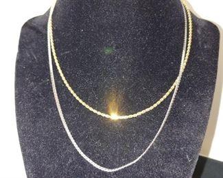 14 karat white gold necklace 14 karat yellow gold necklace