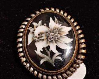 Early 1900s Cameo floral pin Sterling