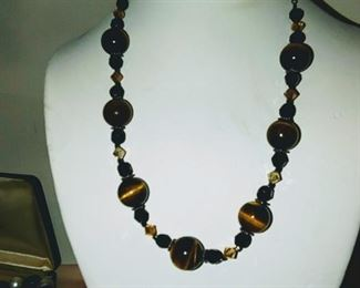 Sterling silver and tiger eye necklace