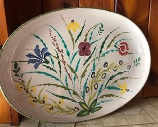 Hand Painted Flower Platter Italy