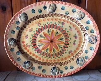 Hand Painted Turkey Platter in warm tones