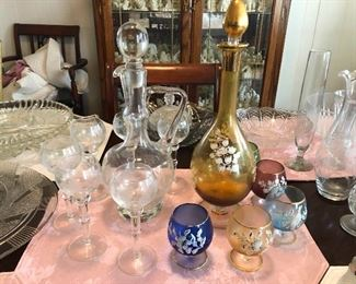 Beautiful vintage decanters and glasses