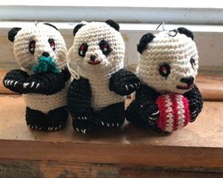 Hand crocheted Panda Bear ornaments